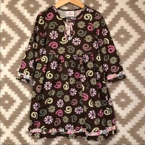 Hanna Andersson Brown Floral Long Sleeve Dress
